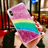 Rainbow Glitter Liquid Case For Iphone X XR XS MAX Soft TPU ...
