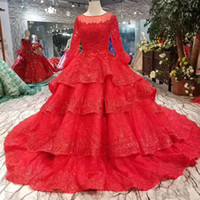 Ball Gown Red Bride Evening Dresses With Train O- Neck Long S...