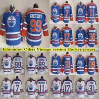 رجال إدمونتون زيتي CCM خمر الفانيلة 99 Gretzky 11 Messier 89 Gagner 7 Coffey 17 Kurri 31 Fuhr 30 Ranford هوكي جيرسي
