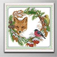 The Fox e Garland Handmade Cross Stitch Ferramentas Ferramentas Bordado Needlework Conjuntos Contados Impressão em Canvas DMC 14CT / 11CT