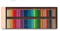 أعلى درجة حقيبة براون أحادي زهرة إلكتروني قماش مغلفة جلد حقيقي 40 اللون قلم رصاص مجموعة لفة بما في ذلك أقلام تلوين