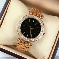 Lüks saatler Diamonds Lady Kol moda üst Gül Altın / siyah Tasarımcı İzle Paslanmaz çelik Ücretsiz kargo Parlaklık Rhinestones