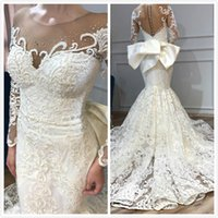 Arabic Mermaid Lace Wedding Dresses Sheer Neck Long Sleeves ...