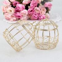 حار بيع الزفاف الذهب صندوق الإحسان الأوروبي رومانسية المطاوع قفص العصافير الحديد عرس مربع مربع حلوى القصدير لعرس الحسنات