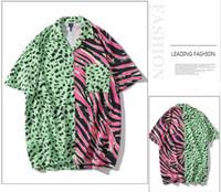 Hombres camisa hawaiana cebra rayas leopardo estampado Patchwork 2020 Hip Hop camisa Streetwear Harajuku playa manga corta verano