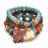 3pcs / set de perles en bois Bracelets pour les femmes Bohême Elephant Tassel Charm Bracelets Bangles Set Bijoux Vintage Boho