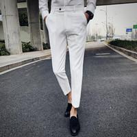 2019 Moda Solid Color Stripes Boutique Uomo nuovo abito da sposa Sina pantaloni vestito convenzionale / Mens pantaloni casual commerciali