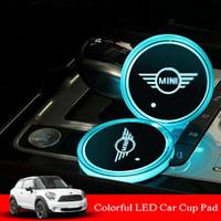 BMW 미니 RGB LED 자동차 컵 홀더 패드 매트에 맞게 자동차 분위기 조명 다채로운