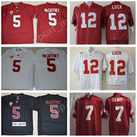 كلية ستانفورد كاردينال 5 كريستيان ماكافري جيرزي كرة قدم للرجال أندرو لاك 7 جون إلواي باك أحمر أبيض أسود مخيط الحجم