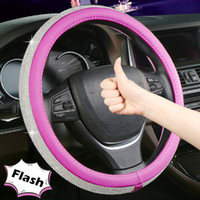 1PC Rhinestone Car Leather Steering Wheel Covers Fashion Uni...