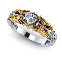 Regalo gioielli di moda classica Cuore Anello del Re 925 silvergold riempimento bianco 5A cubico zircone Promessa sposa le donne regina anello della fascia
