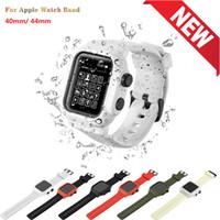 애플 시계 스트랩 밴드에 대한 완벽한 보호 방수 커버 케이스 밴드 40 / 44mm 스포츠 실리콘 팔찌 팔찌 스트랩에 대한 iWatch 시리즈 4