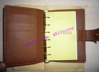 Moda vera pelle di vitello ANELLO PICCOLO AGENDA COVER R20700 viene fornito con 75 pagine ricariche Notebook rivestito in tela marrone