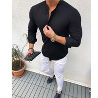 Nuovo Mens maniche lunghe Camicia Up Business Smart Work formale camicia Solid