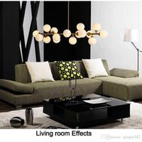 Moden sanat kolye ışık altın / siyah sihirli fasulye led lamba oturma yemek odası dükkanı led striplight cam kolye lamba armatürleri