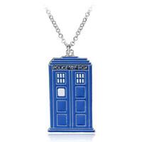 Neue blaue TARDIS Halskette Dr. Who polizei box pendent halskette Dr. Geheimnisvolles Haus Halskette Maxi Punkerklärung Schmuck