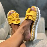 2020 Verão Mulheres Sandálias Sapatos Mulher Bow Verão Sandals Chinelo Interior Exterior flip-flops de praia sapatos calçados Feminino