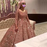 Мусульманин розовое золото Пром платья с длинными рукавами пришивания бальное Дубай женщин Светоотражающие платье партии сшитое Vestidos De Gala