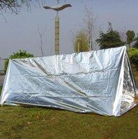 긴급 보호소 PET 필름 텐트 240 * 150cm 방수 은색 마일 라 (Mylar) 열 생존 대피소 쉬운 야영 천막 그늘 GGA3387-2을 수행하려면