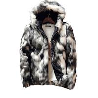 الشتاء أزياء الفراء معطف الرجال ملابس أبيض وأسود مطبوعة طويلة الأكمام سميكة فو الفراء سستة سترة مقنعين سترة