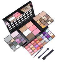 Makyaj Hediye Seti Ayna Su geçirmez Kozmetik Box ile 74 Renkler Işıltılı Mat Göz Farı Paleti + Dudak Parlatıcı + Kapatıcı