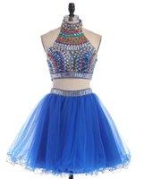 Royal Blue Zwei Stücke Homecoming Kleider High Hals Backless Perlen Rhinestones Kristalle Cocktailkleider Kurzer Prom-Kleider