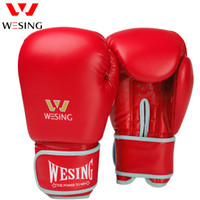 Wesing Boxing Training Sanda luvas Muay Thai Fight Leather l...