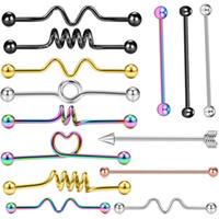 14 جرام الجراحية الصلب الصناعية الحديد أقراط القلب برغي الكرة الغضروف اللولب الأذن ثقب الجسم مجوهرات 100 قطع