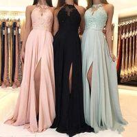 Vestidos de dama de honor largos de gasa elegantes de 2019 baratos Apliques de encaje Vestido de invitados de boda dividido Vestidos de dama de honor BM0267