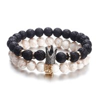 BLACK WHITE Newly Bracelets Factory Price Lava Rock Crown Br...
