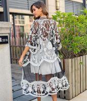 Rebicoo летом женщины пляж кимоно Femme летней леди длинные кружевные рубашки женщина кружевные кардиганы
