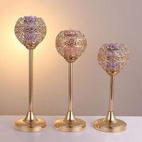 Kristal Metal Mum Tealight Sahipleri Düğün Parti Masa Centerpieces için Şamdanlar Şamdanlar Standı Şamdan Tatil Ev Dekorasyon