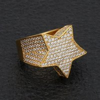 Hip Hop Mens Jewelry Ring Five-point Star Bling Iced Out Zircon Fashion Hiphop Rose Gold Silver Rings