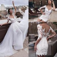 Nouvelle plage Sexy Boho A Line Robes de mariée Robes De Mariage Sheer Col Dentelle Appliques Tulle avec des robes de mariée amovible Train Plus Taille