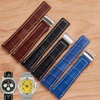 Reloj de reloj 22 mm 24 mm negro marrón azul banda de reloj de cocodrilo líneas de cocodrilo correa de cuero genuino de acero inoxidable con hebilla plegable adecuada para breitling superocean