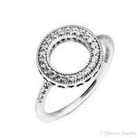 Совместим с Pandora ювелирные изделия кольцо серебряные сердца Halo кольца белый кристалл 100% стерлингового серебра 925 ювелирные изделия Оптовая DIY для женщин
