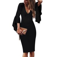 wholesale Fashion Elegant Cocktail Dresses Women Casual V- ne...