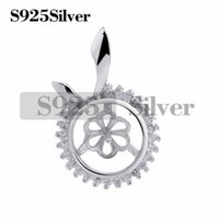 Gift DIY Cubic Zirconia Stone Surrounded Pendant Pearl Findi...