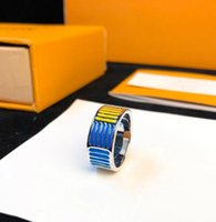 2019 Designer NANOGRAM Jewelry Rings Vintage Striped Letter Pattern Ring para mujeres y hombres regalo de lujo