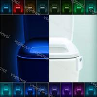 Sensor de movimento LED luz luzes luzes 8 cor multicolor alternável ABS à prova d'água para o WC Closestool assento DHL