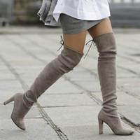 Teahoo فو الجلد المدبوغ المرأة على مدى الركبة أحذية مثير سليم الفخذ أحذية عالية الكعب أحذية 9.5 سم إمرأة شتاء إمرأة حجم 34-39