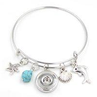 Più nuovo modo intercambiabile stile gioielli Sealife Starfish Seashell Dolphin fascini espandibile filo del braccialetto del Snap per le donne Monili