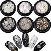 7 adet / set Doğal Işık Tırnak SeaShell Dilimleri Parçacık Ezilmiş Shell Manikür Seti Nail Art Glitter Dekorasyon Araçları