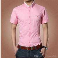Mens Designer camicia di colore solido Camicie da uomo corto Shirt Chemise Homme maniche corte Magro Adolescente Maschio Abbigliamento