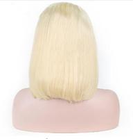 613 Блондинка Ломбер Короткий Боб Парик Фронта Шнурка Человеческих Волос Парики Средней Части Натуральных Волос Remy Бразильские