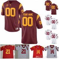 Personalizados USC Trojans 2019 Football Qualquer Nome Número Branco Vermelho 18 JT Daniels 10 Jack Sears 19 Matt Fink Seau NCAA 150º Jersey