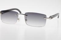 Atacado High-end óculos sem aro preto novo chifre de búfalo SunGlasses Hot Genuine Natural 8200758 SunGlasses Hot Unisex grife vidros de sol