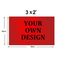 Individuelle 2x3 FT Flag Banner 60x90 cm Sports Party Club Geschenk Digital gedruckte Indoor Outdoor Polyester Werbung Fahnen und Banner
