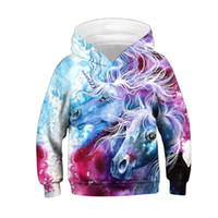 Raisevern Fashion Felpe 3D Stampato Colorful Paint Lovely Unicorn Horse Funny Hoodies Bambini Harajuku Pullover con cappuccio