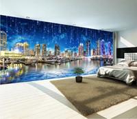 Papel fotográfico personalizado 3D Estilo europeo Ultra HD Noche Ciudad Noche Ciudad Paisaje Panora Gran Mural Papel pintado para dormitorio Sala de estar Pared